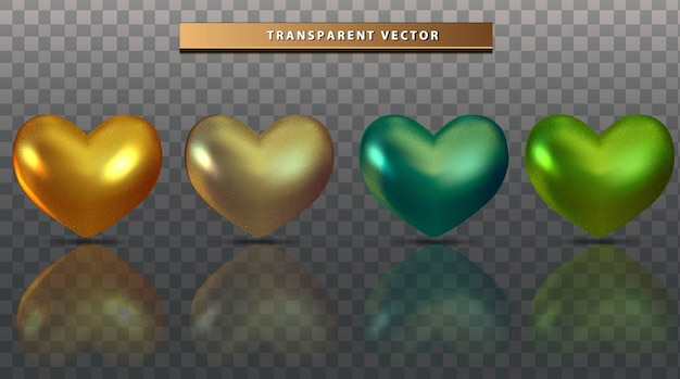 Set collectie liefde kleurrijk transparant