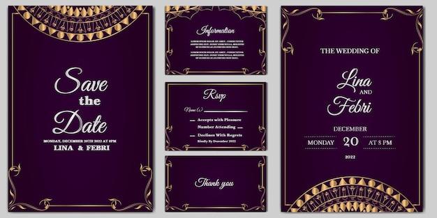 Set collectie luxe bruiloft uitnodiging kaartsjabloon