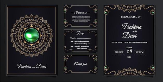 Set collectie luxe bruiloft uitnodigingskaart