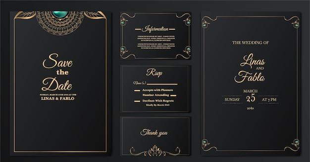 Set collectie luxe bruiloft uitnodigingskaarten sjabloon