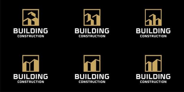 Set collectie monogram gebouw logo ontwerp bundel inspiratiesjabloon