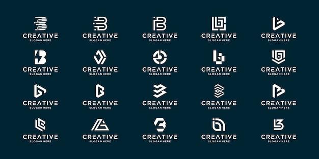 Set collectie monogram letter b met abstract