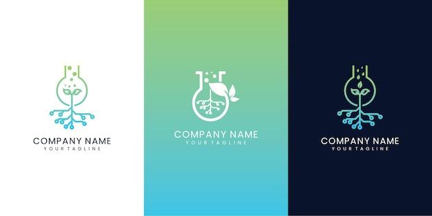 Set collectie natuur lab tech logo ontwerp combinatie technologie