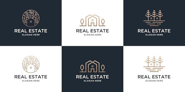 Set collectie onroerend goed huis logo sjabloon