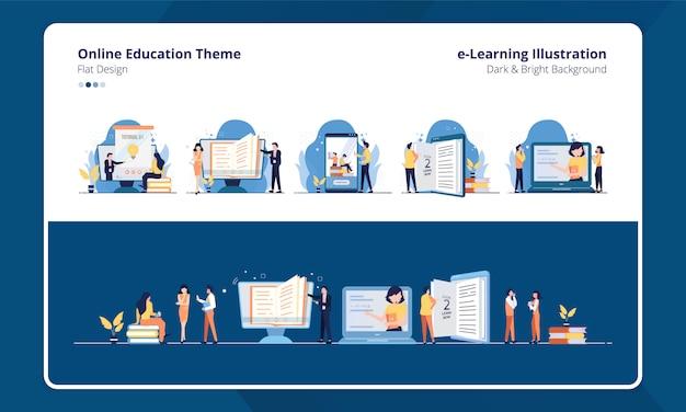 Set collectie plat ontwerp met e-learning of online onderwijs thema