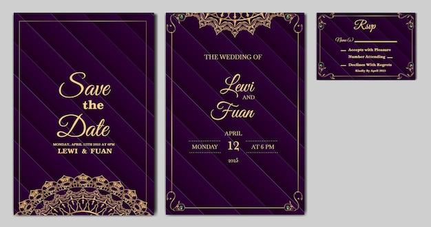 Set collectie prachtige luxe bruiloft uitnodigingskaartsjabloon
