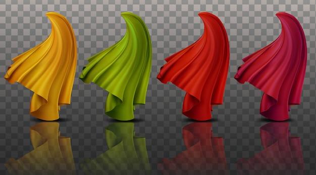 Set collectie realistische afbeelding 3d abstract dynamische doek stof kleurrijk