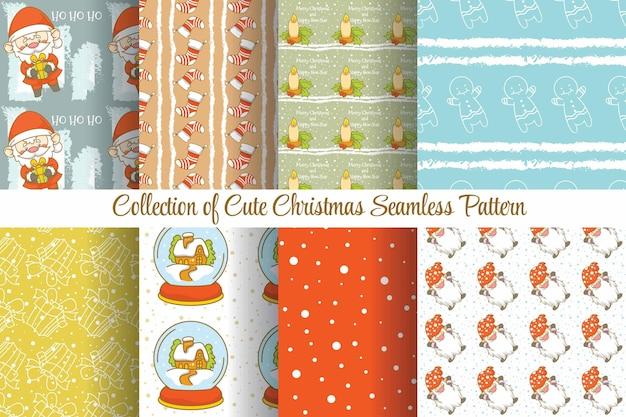 Set collectie schattig kerst naadloos patroon