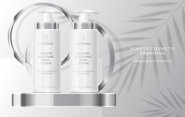 Set collectie van schoonheid mode cosmetische serum crème medische huidverzorging mockup product vector illus
