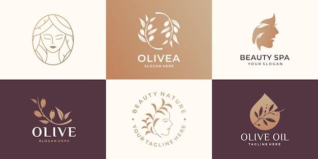 Set collectie van schoonheid vrouw logo, olijftak, beauty spa, vrouw gezicht, olijfolie, vrouwelijk logo.