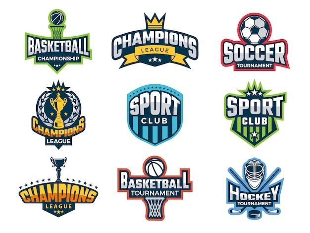 Set college team bekerwedstrijden atleet recreatie badges