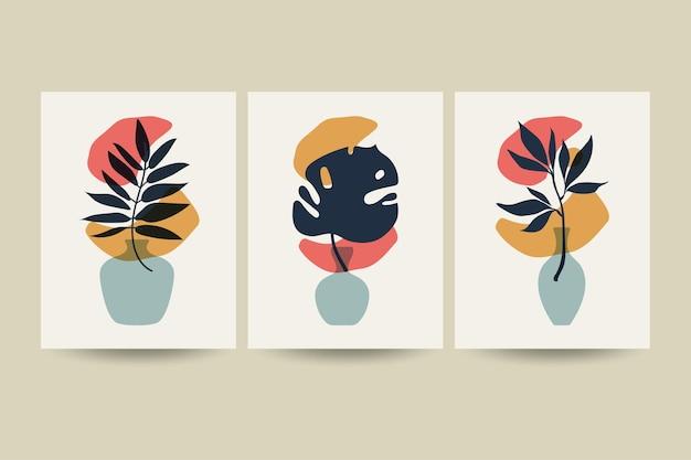 Set composities met bladeren.