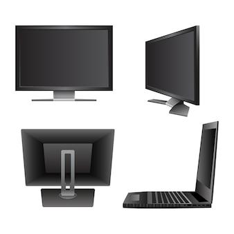 Set computer monitor notebook laptop