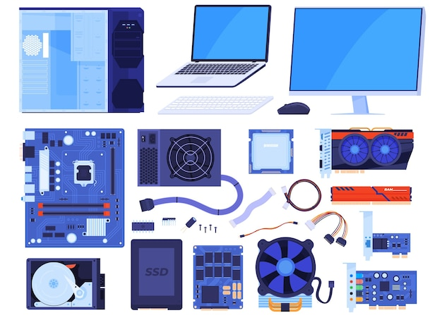 Set computeronderdelen. case, monitor, laptop, moederbord, processor, videokaart, ram, toetsenbord, muis, harde schijf, ssd, kabels. geïsoleerde illustratie