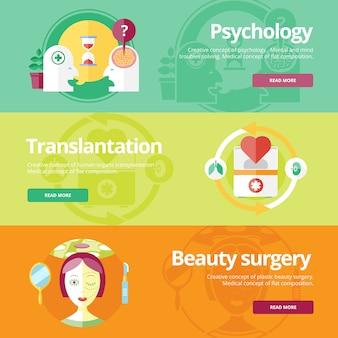 Set concepten voor seksuologie, plastische chirurgie, hartbehandeling. medische concepten voor web s en printmaterialen.