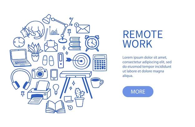 Set contourelementen, concept van thuiswerk en freelance in quarantaine.