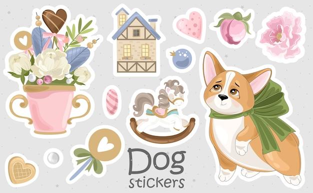 Set corgi stickers en pictogrammen