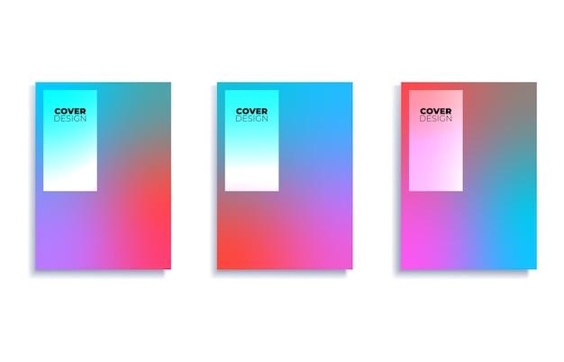 Set covers ontwerpsjablonen met levendige achtergrond met kleurovergang