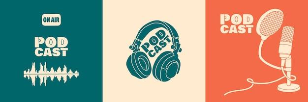 Set covers voor podcast of uitzending
