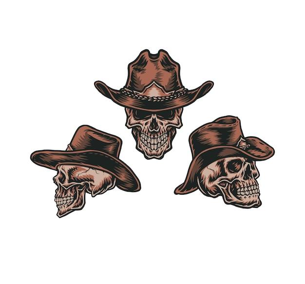 Set cowboy skull, hand getrokken lijnstijl met digitale kleur, illustratie
