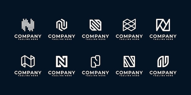 Set creatieve letter n-logo's