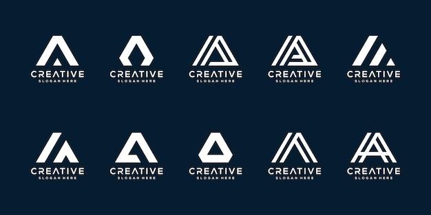 Set creatieve logo letters a met driehoeksstijl
