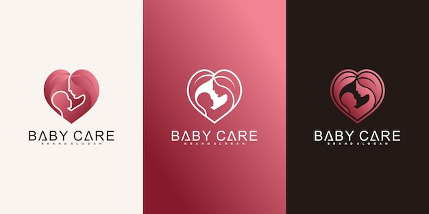 Set creatieve logo-ontwerpsjablonen voor babyverzorging premium vector
