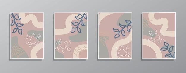 Set creatieve minimalistische handgetekende vintage neutrale kleurenillustraties