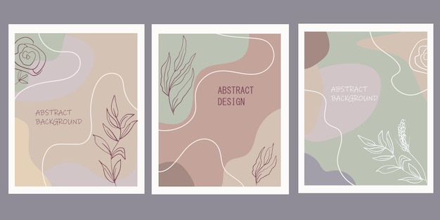 Set creatieve posters met geometrische vormen en botanische bloemenelementen