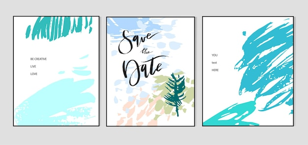 Set creatieve universele kaarten. handgetekende texturen.