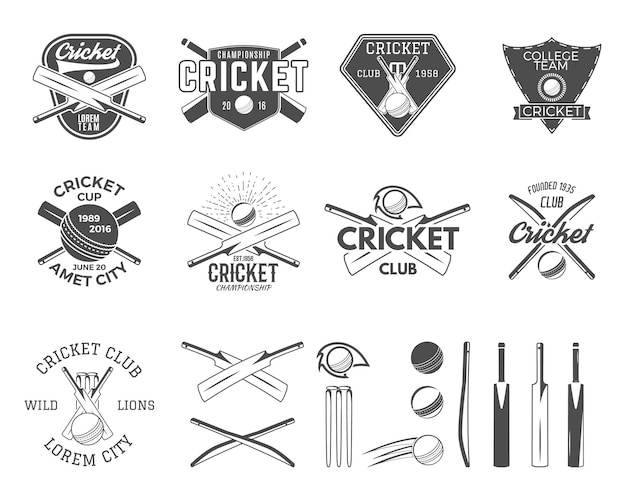 Set cricket sport logo sjablonen