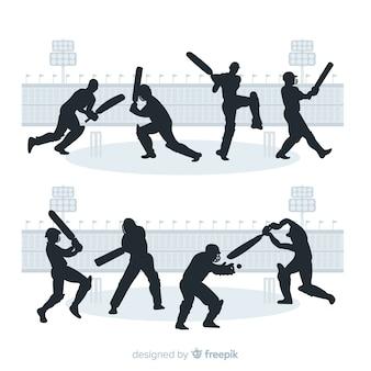 Set cricketspelers met silhouetstijl