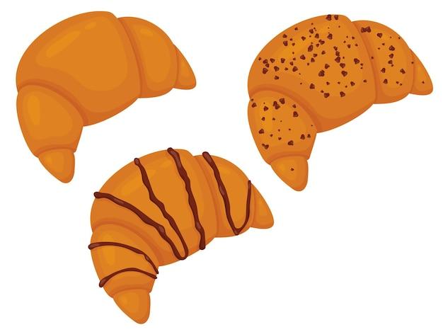 Set croissant met chocolade vectorillustratie van zoete gebakjes