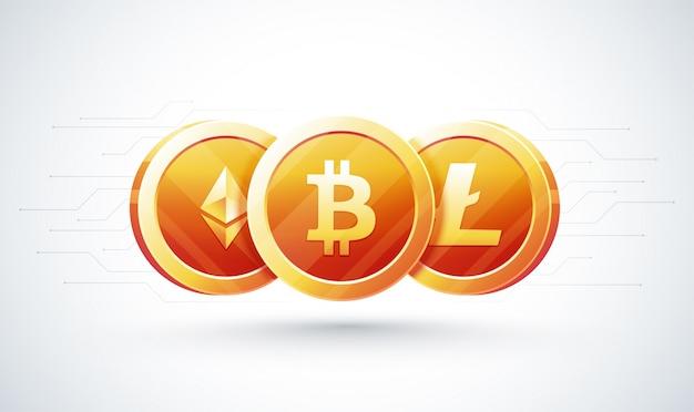 Set cryptocurrencies met een gouden bitcoin op de voorkant