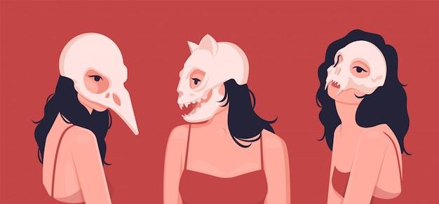 Set cult-meisjes in verschillende gemaskerde maskers