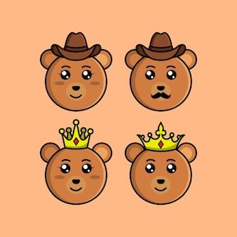Set cute bear cartoon head character met verschillende expressie vectorillustratie