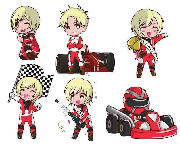 Set cute boy cartoon in racer kostuum.