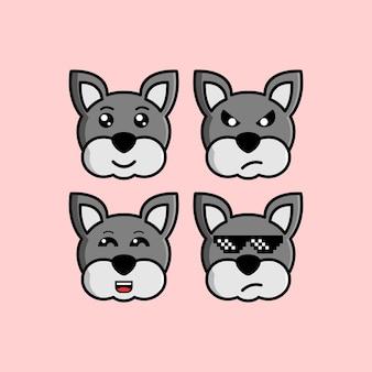Set cute dog cartoon head character met verschillende expressie vectorillustratie
