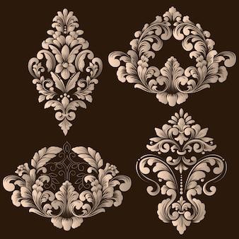 Set damast decoratieve elementen