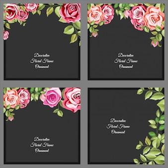 Set decoratieve bloemen en bladeren sjabloon