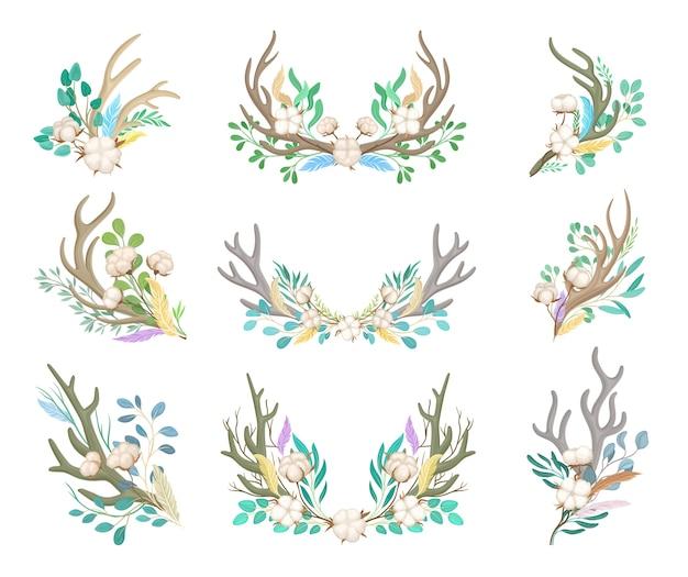 Set decoratieve composities van hoorns en katoen