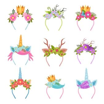 Set decoratieve haarbanden met een bloementhema