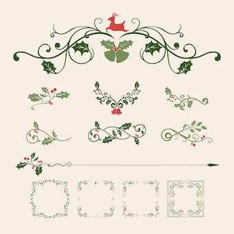 Set decoratieve kerst ornamenten