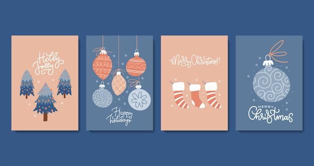 Set decoratieve kerstkaarten in minimalistische, eenvoudige composities in scamdinavische stijl met christ...