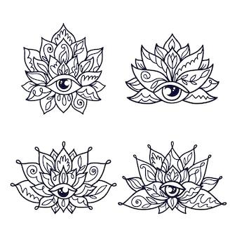 Set decoratieve lotusbloempatronen met derde oog