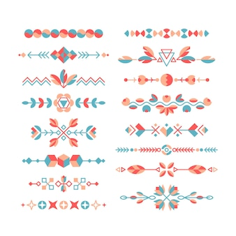 Set decoratieve platte ontwerpelementen, etnische ornamenten, randen en scheidingslijnen