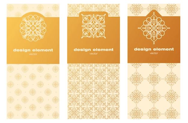 Set decoratieve sjablonen voor verpakking.