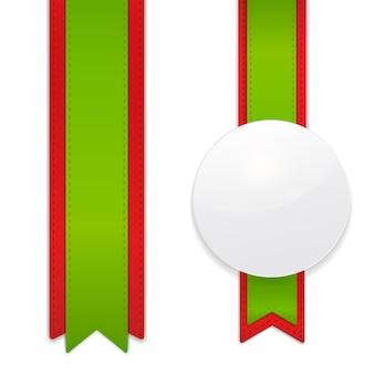 Set decoratieve verticale linten met witte cirkel tag voor uw ontwerpproject.
