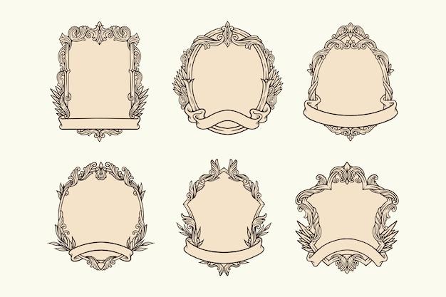 Set decoratieve vintage frames. retro grenzenkaders met ornament