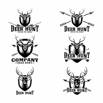 Set deer hunt logo-sjablonen